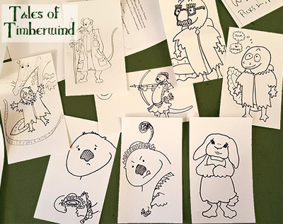 Many small cartoons of Tales of Timberwind characters, including a rat in a long coat, a cute rabbit, an otter with a fancy hat, and a newt in ragged clothing