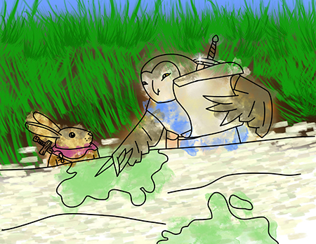 An owl shows a map to a rabbit with a sword