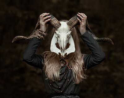 a spooky skull-sorceress