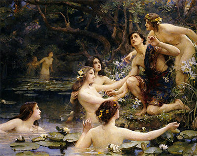 a painting of water nymphs drawing Hylas into the water